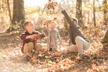 fall family picture, showing kids and fall leaves, near greenville, SC